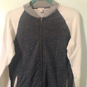 J. Crew women's zip up blue and white sweater